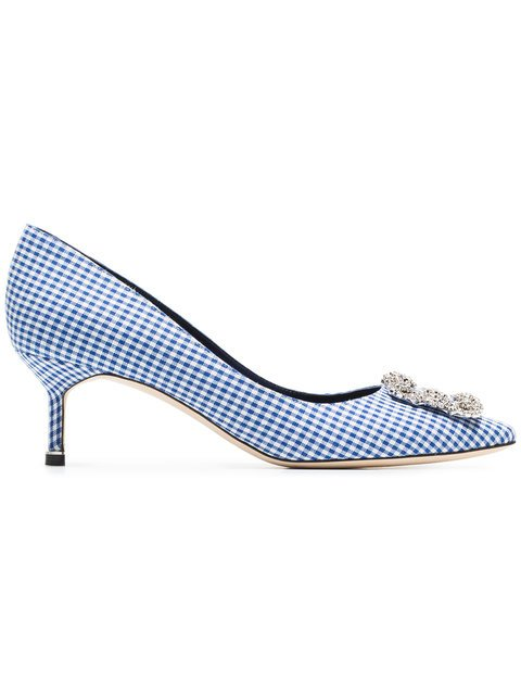 Manolo Blahnik White And Navy Hangisi 50 Gingham Cotton Pumps - Farfetch