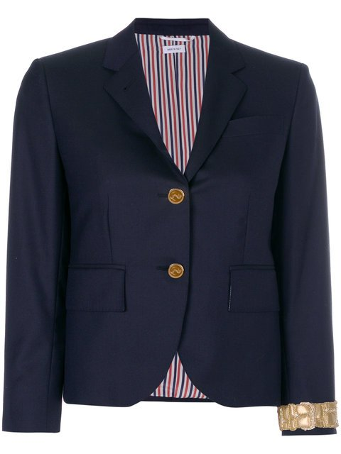 Thom Browne Classic Single Breasted Sport Coat With Wristwatch Applique In Super 120's Twill - Farfetch