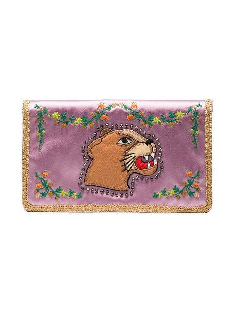Gucci Multicoloured Broadway Lion Silk Clutch - Farfetch