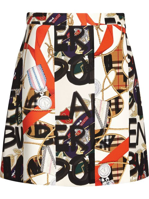 Burberry Graffiti Archive Scarf Print Silk Wool Mini Skirt - Farfetch