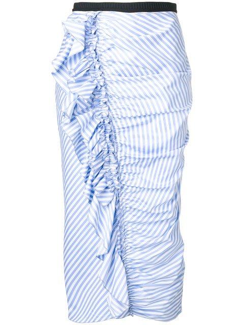 Antonio Marras Striped Frill Pencil Skirt - Farfetch