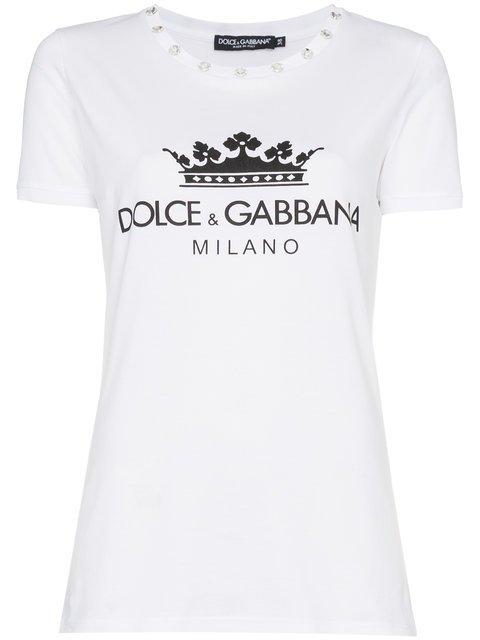 Dolce & Gabbana Diamante Collar Logo Crown Print Cotton t Shirt - Farfetch