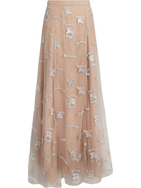 Burberry Equestrian Knight Embroidered Tulle Skirt - Farfetch