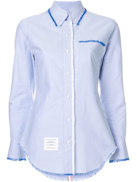 Thom Browne Classic Long Sleeve Button Down Point Collar Shirt W/ Fray In Solid Oxford W/ Engineered Center RWB Stripe - Farfetch
