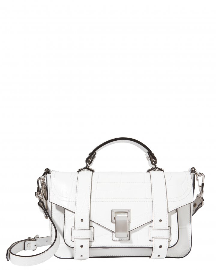 PS1 Plus Tiny Croc-Embossed White Leather Bag