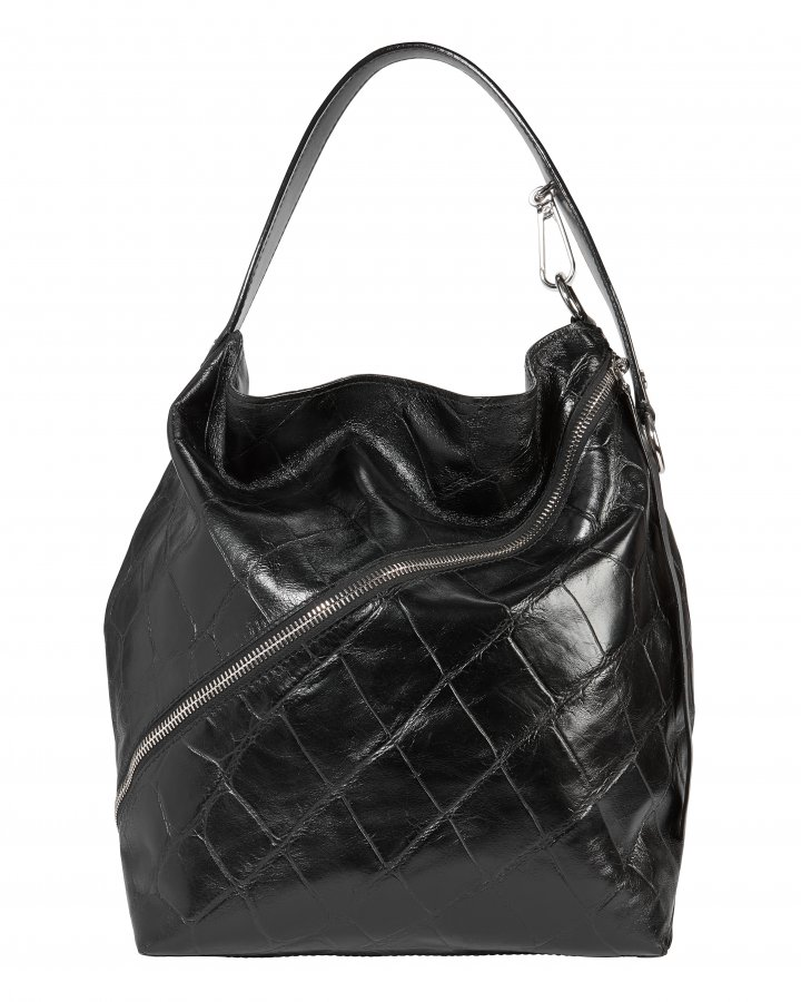 Asymmetrical Zip Embossed Hobo Bag