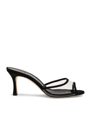 PVC Sissavy Sandals in Black Suede