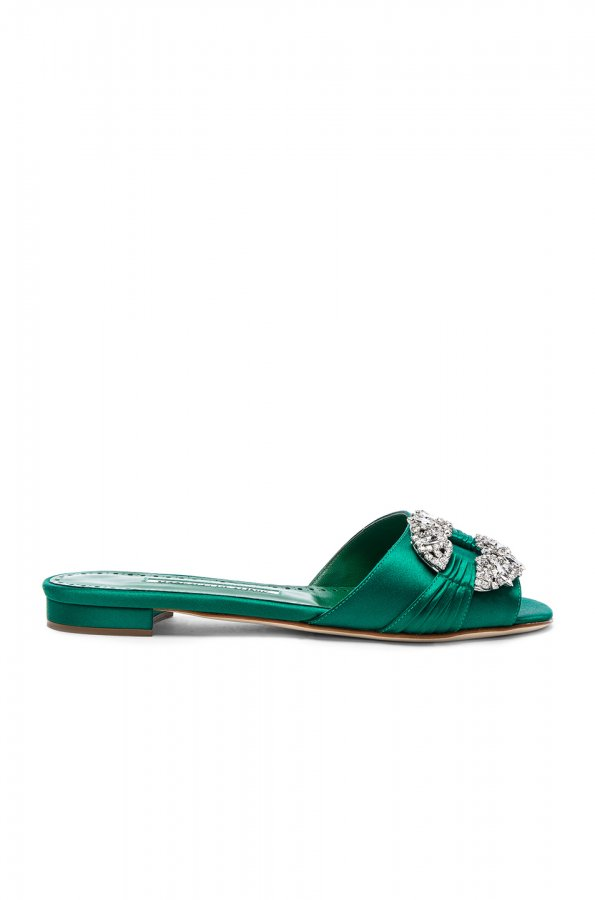 Satin Pralina Slides in Green Satin