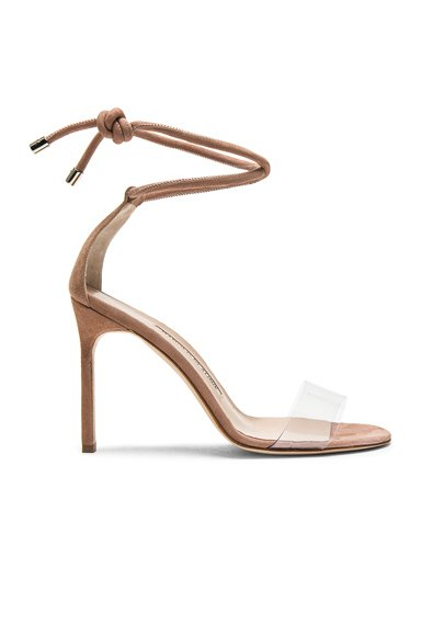 105 Suede Estro Sandals in Rose Nude Suede
