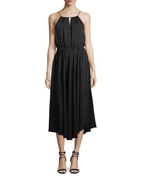Milly Casey Draped Stretch-Silk Dress