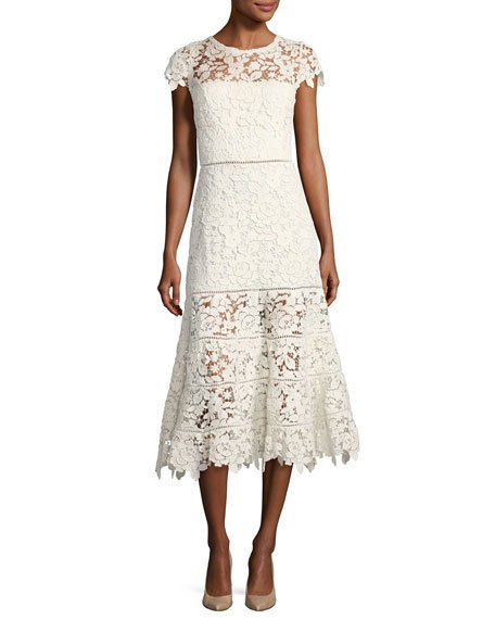 Joie Celedonia Round-Neck Fit-and-Flare Lace Guipure Midi Dress
