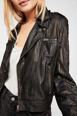 Perforated Leather Moto Jacket