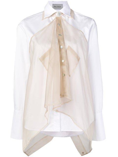 Balossa White Shirt Long Sleeve Shirt With Sheer Overlay - Farfetch