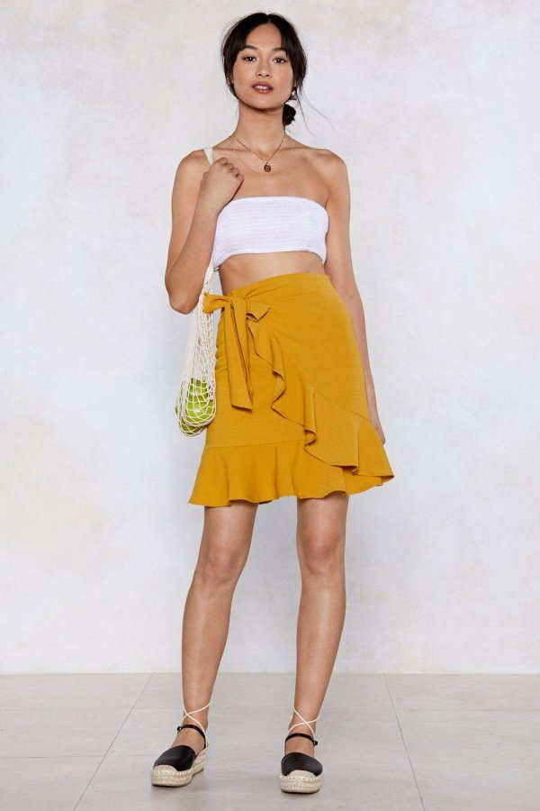 You Are the Real Linen Here Wrap Skirt