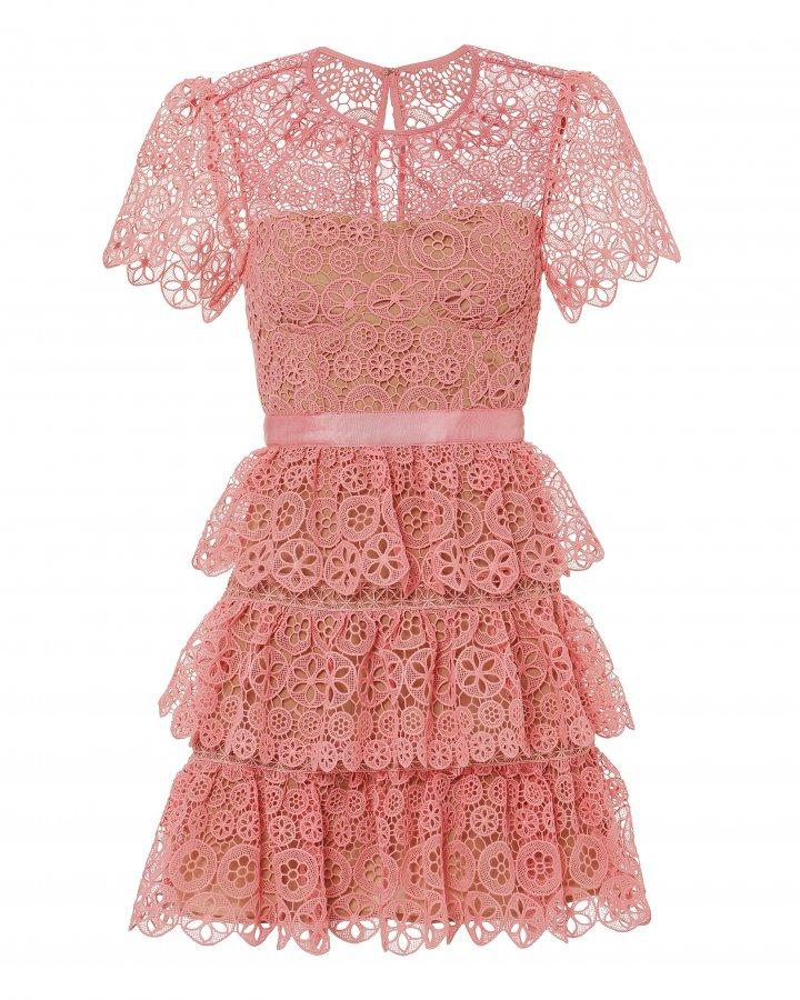 Pink Tiered Lace Mini Dress