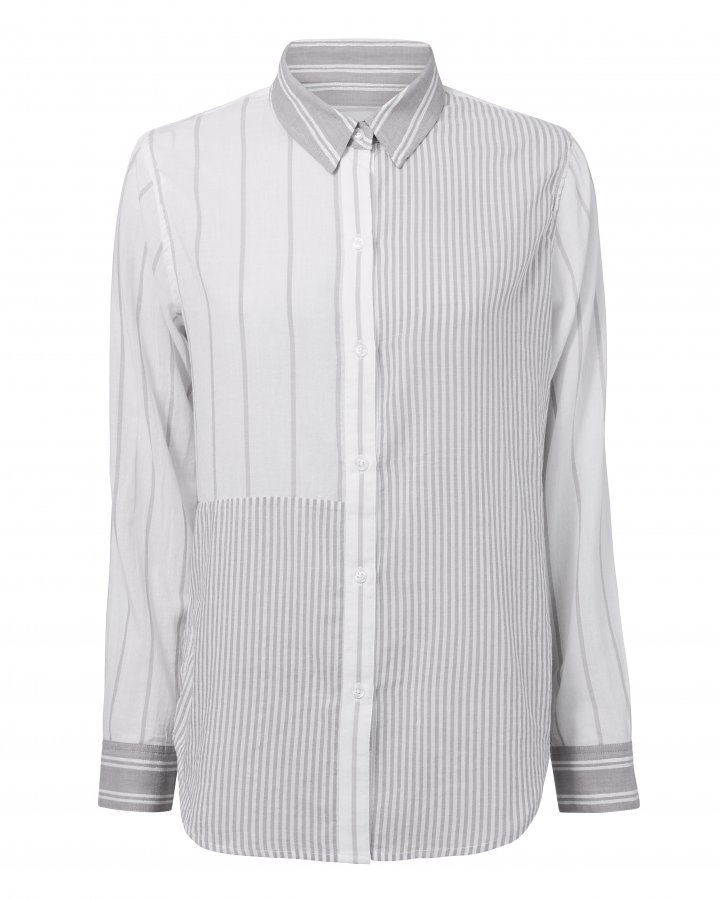 Erika Mixed Grey Stripes Shirt
