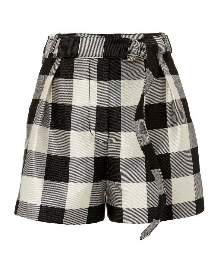 Gingham Belted Military Shorts