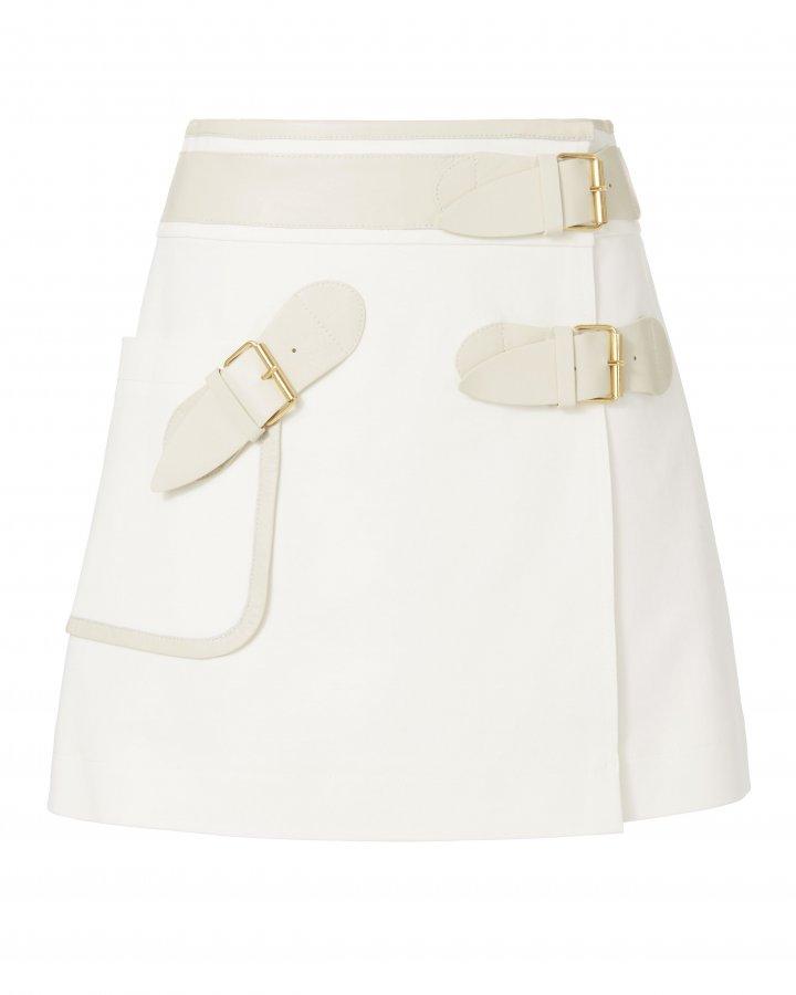 Belted Wrap Mini Skirt