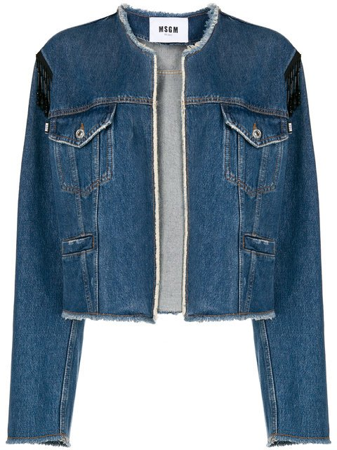 MSGM Collarless Denim Jacket - Farfetch