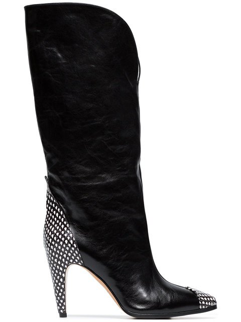 Givenchy Black 95 Spotted Leather Knee High Boots - Farfetch