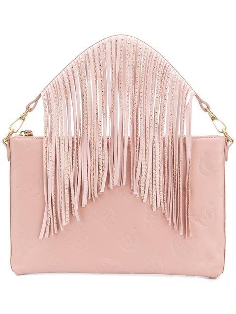 Pinko Logo Embossed Fringe Clutch Bag - Farfetch