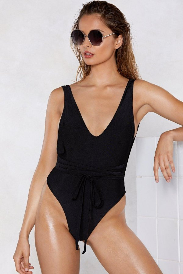 Nasty Gal Alina Belted Swimsuit