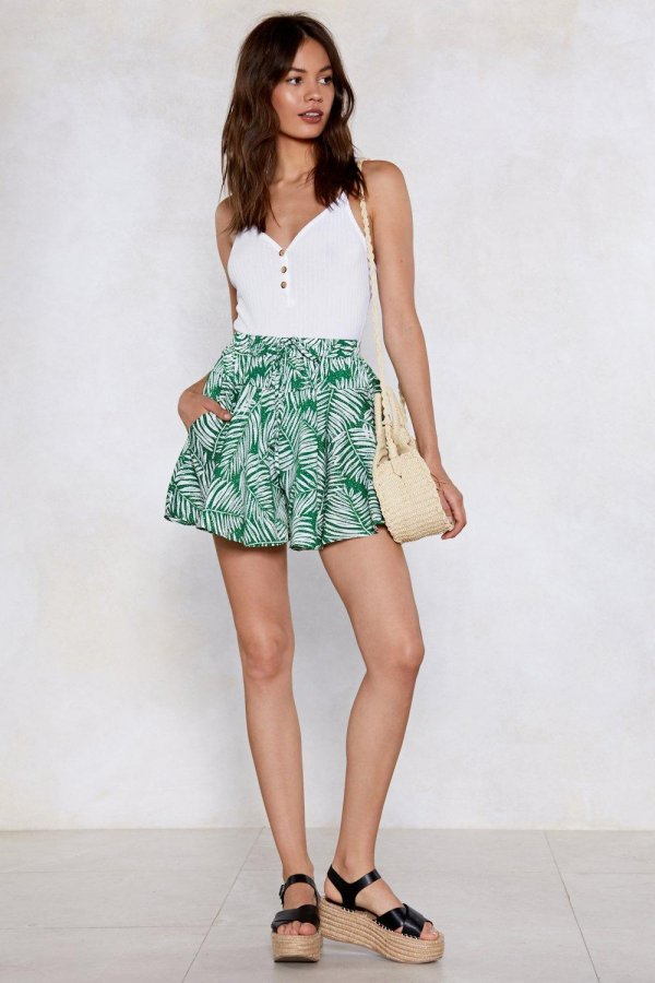 Don\'t Leaf Me This Way Palm Shorts