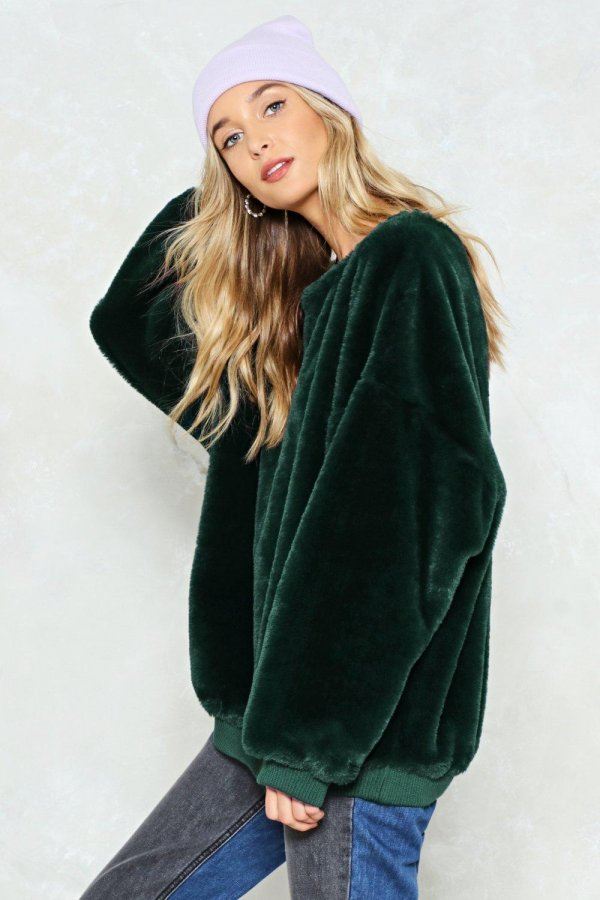 Have It Easy Faux Fur Sweatshirt