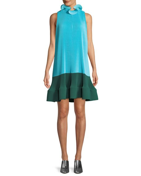 Tibi Camellia Pleated Colorblock Ruffle Dress