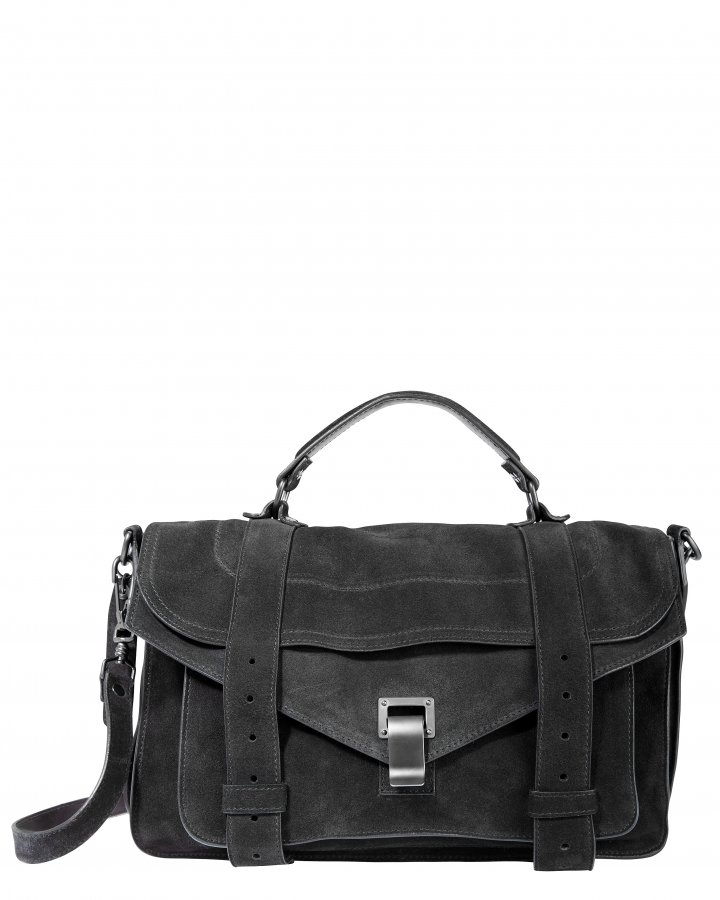 PS1 Suede Medium Black Satchel