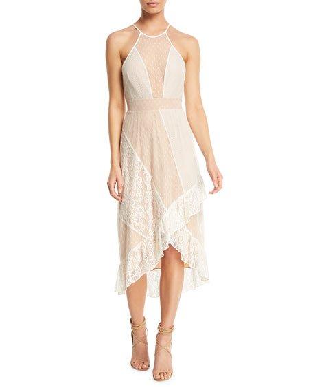 Likely Lorimer Sheer Mesh Lace Midi Dress