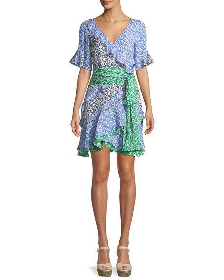 Tanya Taylor Ditsy Floral Textured Silk Ruffle Mini Dress