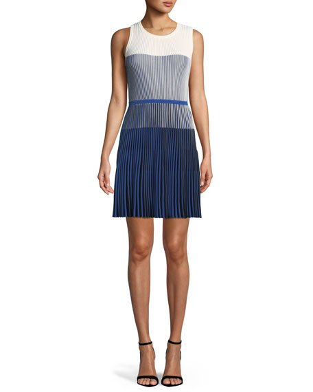 Milly Ombre Textured Flare Dress