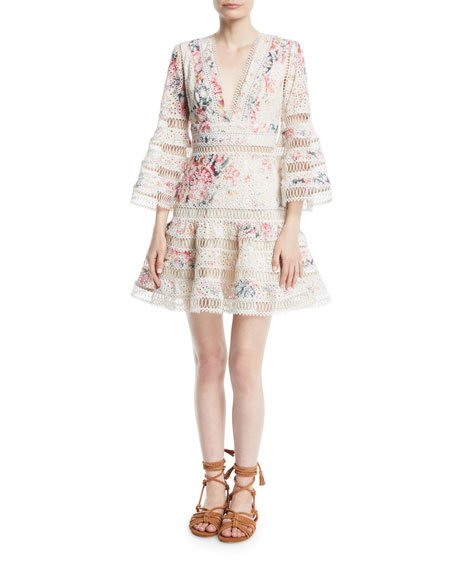 Zimmermann Laelia Diamond Flutter Eyelet V-Neck Mini Dress