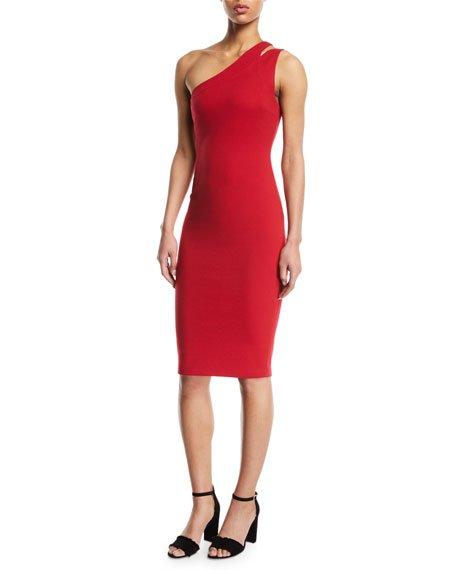 Bailey 44 Sidewinder One-Shoulder Knee-Length Dress