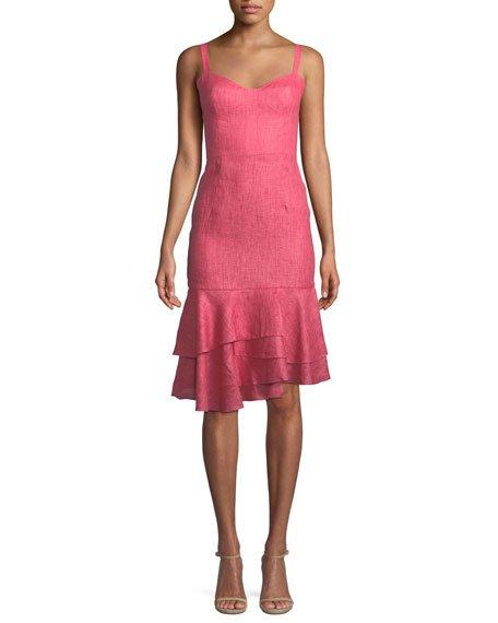 Milly Kendal Linen Ruffle-Hem Dress