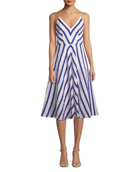 Milly Monroe Chevron Linen-Stretch Midi Dress
