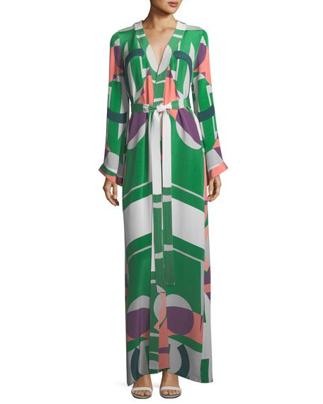 Alexis Vidal Printed Long-Sleeve Self-Tie Caftan Dress