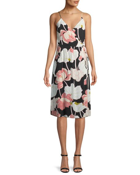 Cupcakes and Cashmere Chayene Floral-Print Sleeveless Wrap Dress