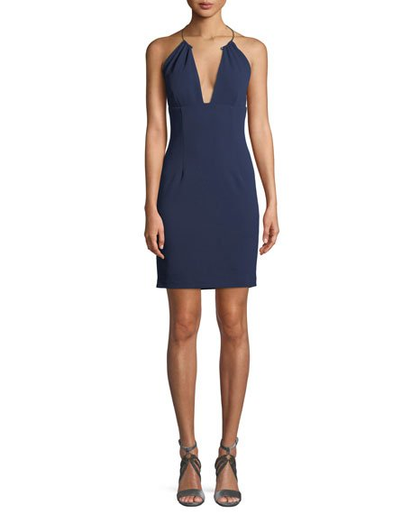 Aidan Mattox Scuba Crepe Halter Cocktail Dress w/ Wire Necklace