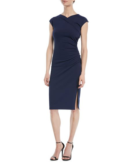 Diane von Furstenberg Cap-Sleeve Ruched Jersey Dress
