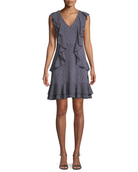 MICHAEL Michael Kors Cascade-Ruffle Shift Mini Dress