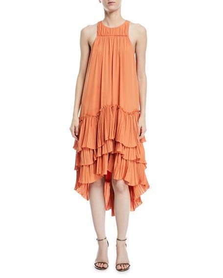 Halston Heritage Sleeveless Flowy Tiered Georgette Dress