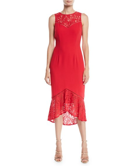 Aidan Mattox Sleeveless Crepe & Lace Midi Cocktail Dress