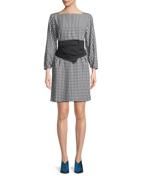 Tibi Gingham Long-Sleeve Shift Dress with Removable Corset