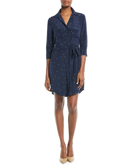 L\'Agence Stella Long-Sleeve Star-Print Silk Shirtdress