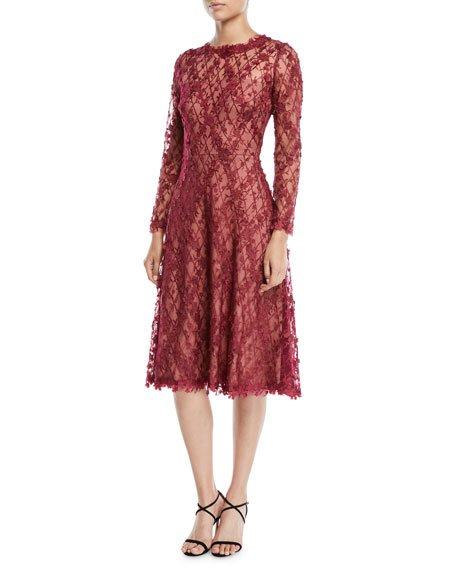 Tadashi Shoji 3D Lace Dress w/ Long Sleeves