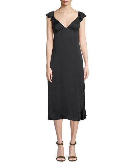 7 for all mankind Flutter-Sleeve Midi-Length Slip Dress