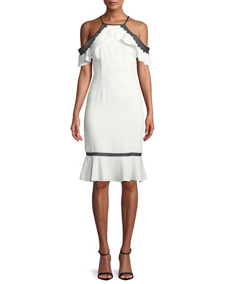 Aidan Mattox Crepe Halter Dress w/ Lace Cold Shoulders