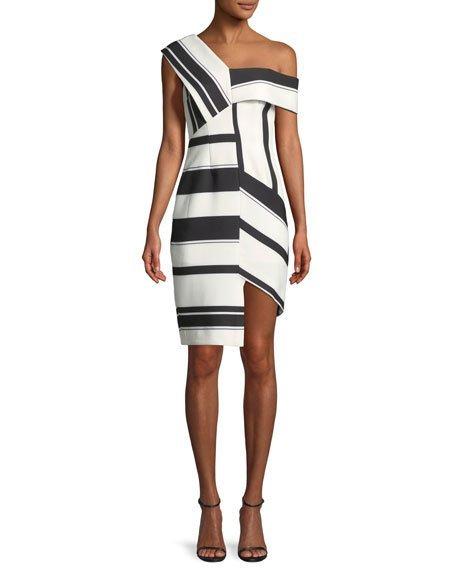 Aijek Asymmetric Stripe Sheath Cocktail Dress